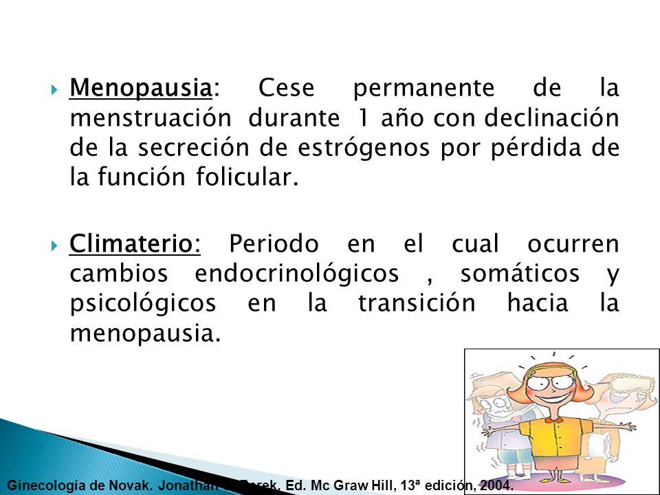 MENOPAUSIA: Cese permanente de la menstruación ( pérdida de actividad ovárica) PERIMENOPAUSIA: (Climaterio) incluye el periodo anterior a la menopausia y el año siguiente a ella POSMENOPAUSIA: Después del primer año de la Menopausia Ginecología de Novak.