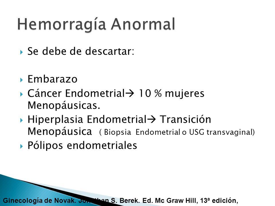 Se debe de descartar: Embarazo Cáncer Endometrial 10 % mujeres Menopáusicas. Hiperplasia Endometrial Transición Menopáusica ( Biopsia Endometrial o US