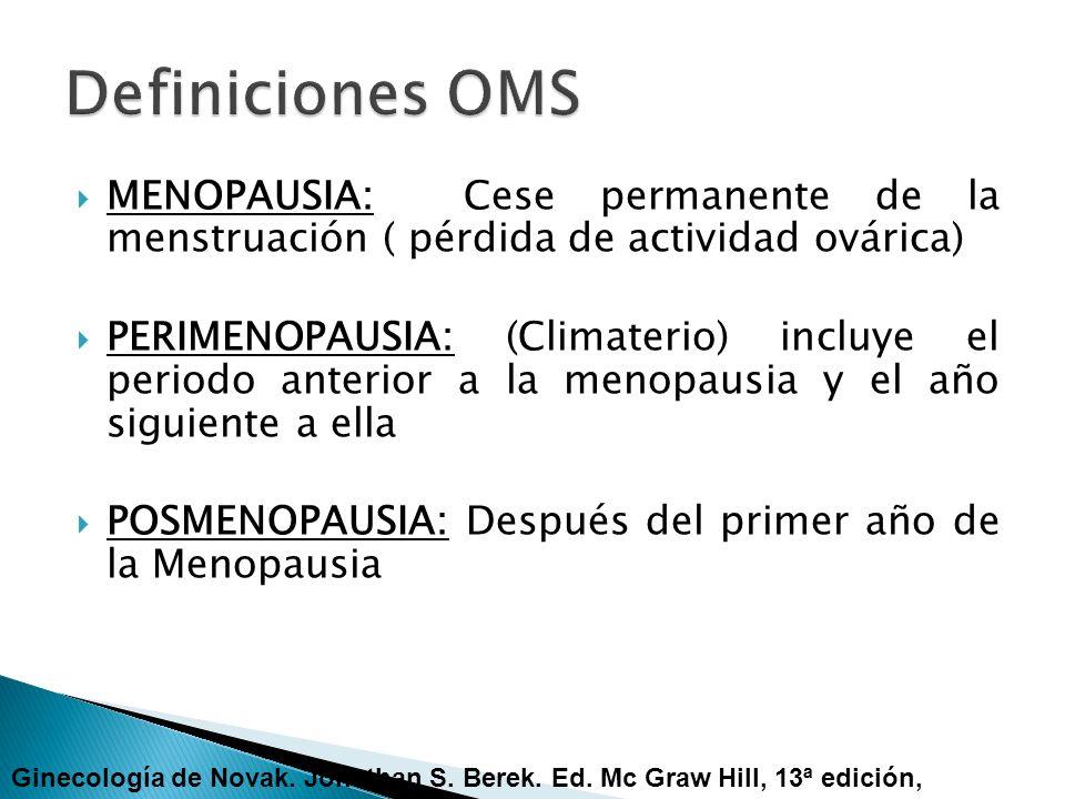 MENOPAUSIA: Cese permanente de la menstruación ( pérdida de actividad ovárica) PERIMENOPAUSIA: (Climaterio) incluye el periodo anterior a la menopausi