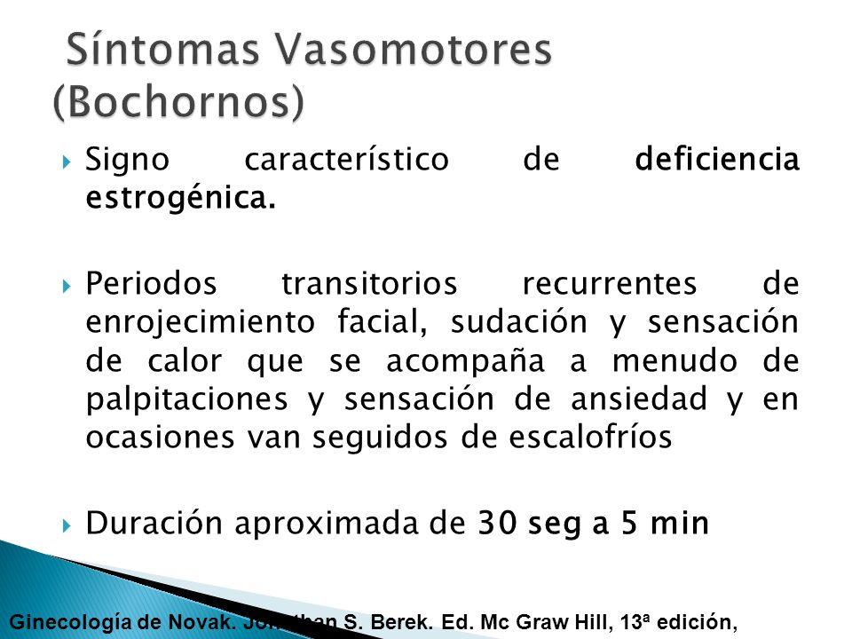 Signo característico de deficiencia estrogénica. Periodos transitorios recurrentes de enrojecimiento facial, sudación y sensación de calor que se acom