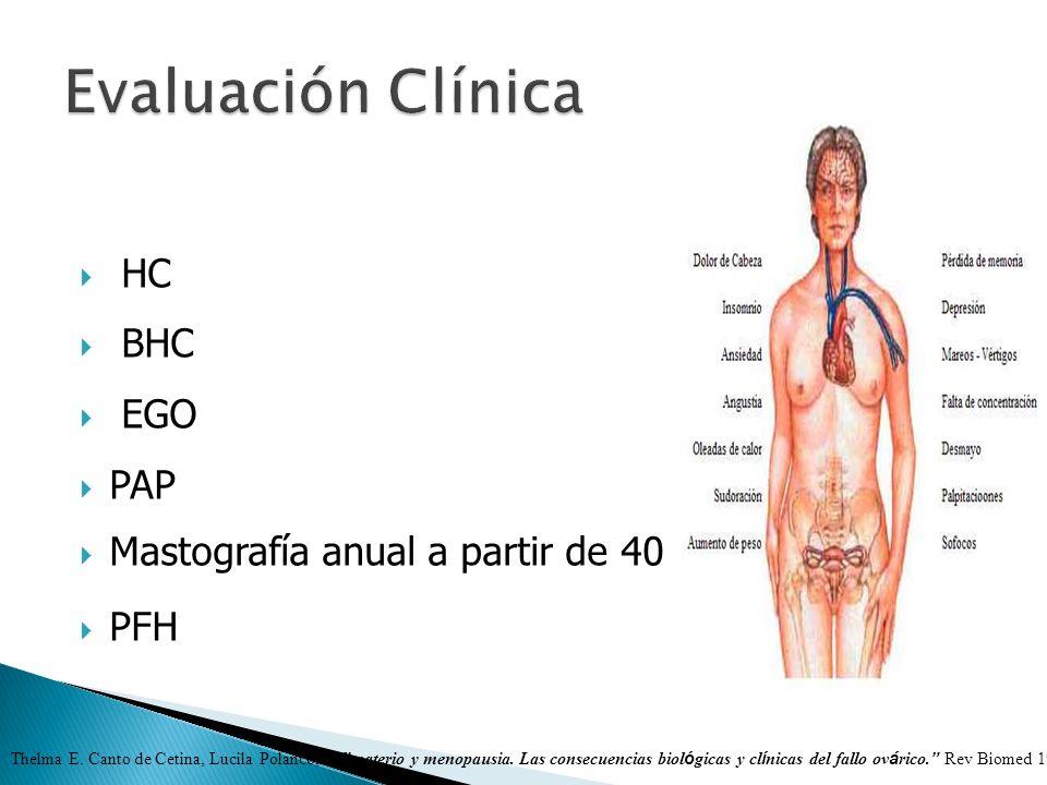 HC BHC EGO PAP Mastografía anual a partir de 40 a PFH Thelma E. Canto de Cetina, Lucila Polanco, Climaterio y menopausia. Las consecuencias biol ó gic