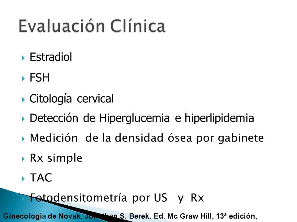 Estradiol FSH Citología cervical Detección de Hiperglucemia e hiperlipidemia Medición de la densidad ósea por gabinete Rx simple TAC Fotodensitometría