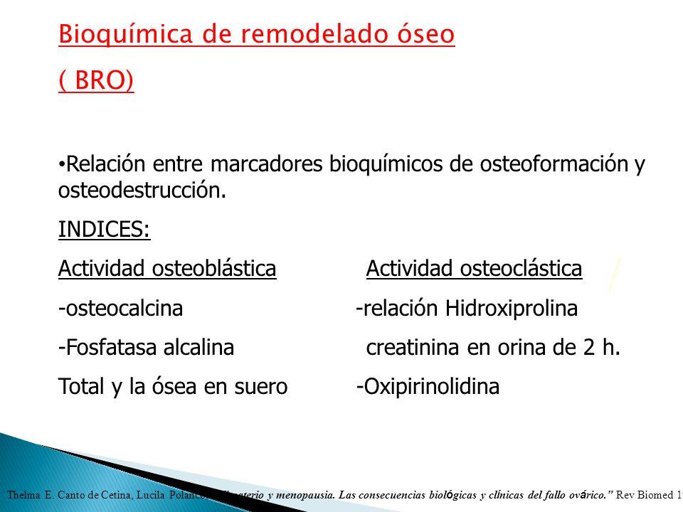 Bioquímica de remodelado óseo ( BRO) Relación entre marcadores bioquímicos de osteoformación y osteodestrucción. INDICES: Actividad osteoblástica Acti