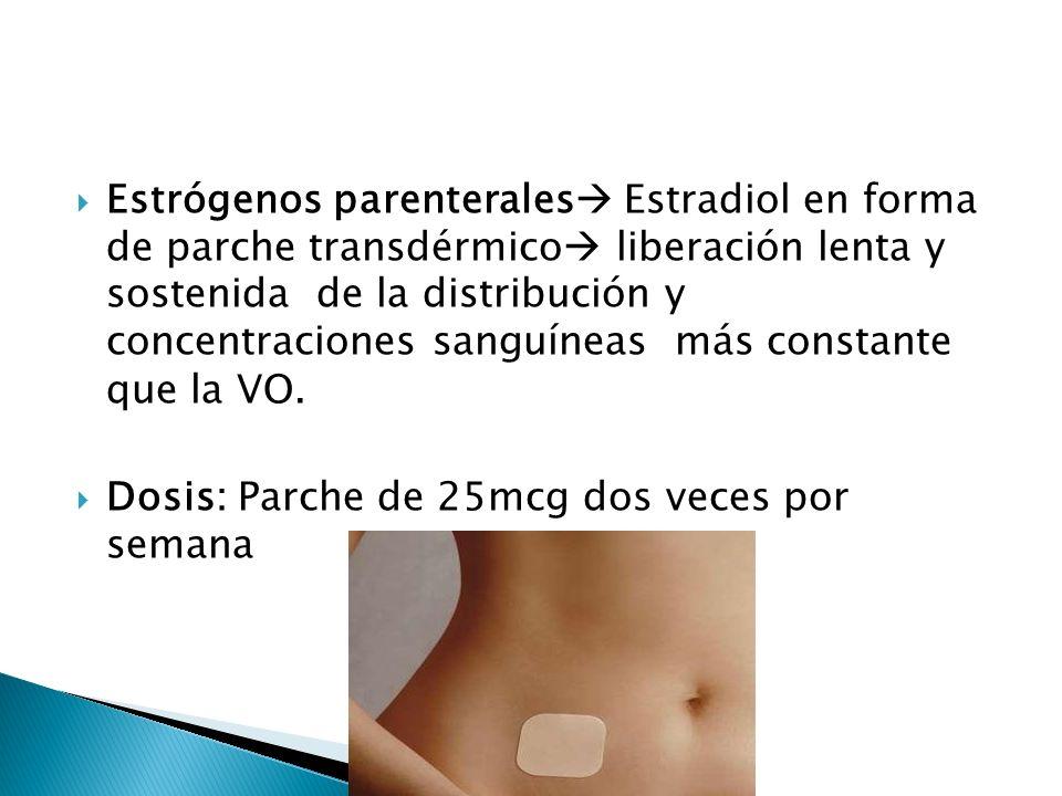 Estrógenos parenterales Estradiol en forma de parche transdérmico liberación lenta y sostenida de la distribución y concentraciones sanguíneas más con