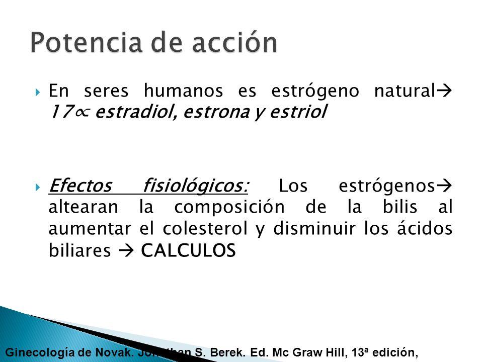 En seres humanos es estrógeno natural 17 estradiol, estrona y estriol Efectos fisiológicos: Los estrógenos altearan la composición de la bilis al aume