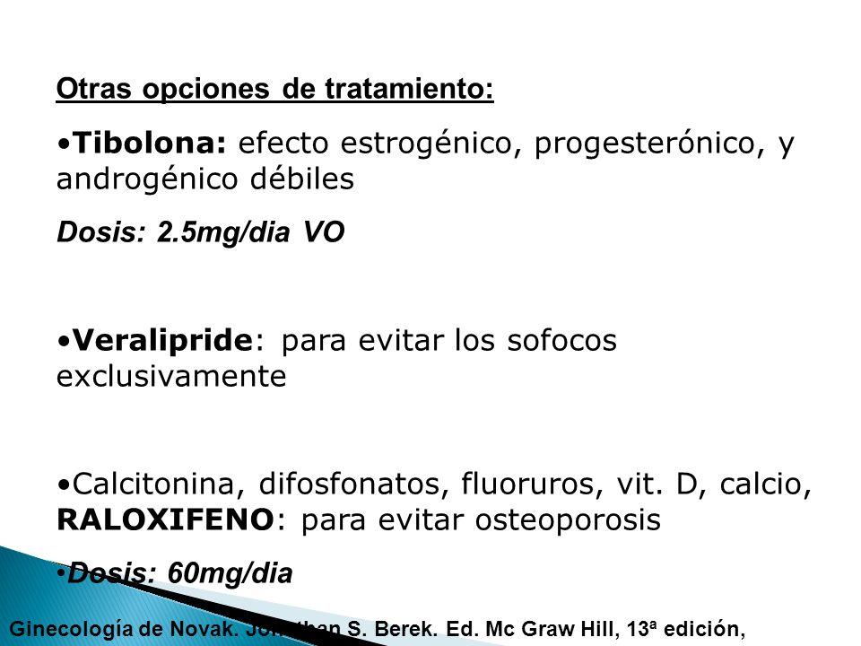 Otras opciones de tratamiento: Tibolona: efecto estrogénico, progesterónico, y androgénico débiles Dosis: 2.5mg/dia VO Veralipride: para evitar los so