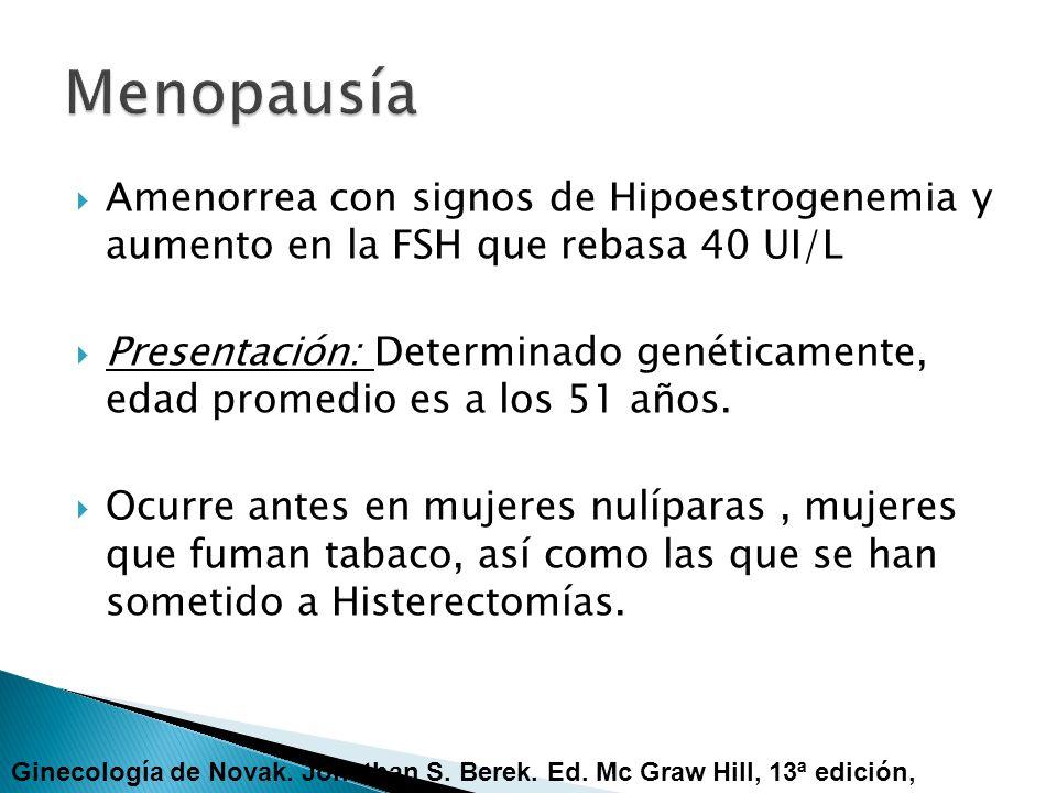 Amenorrea con signos de Hipoestrogenemia y aumento en la FSH que rebasa 40 UI/L Presentación: Determinado genéticamente, edad promedio es a los 51 año