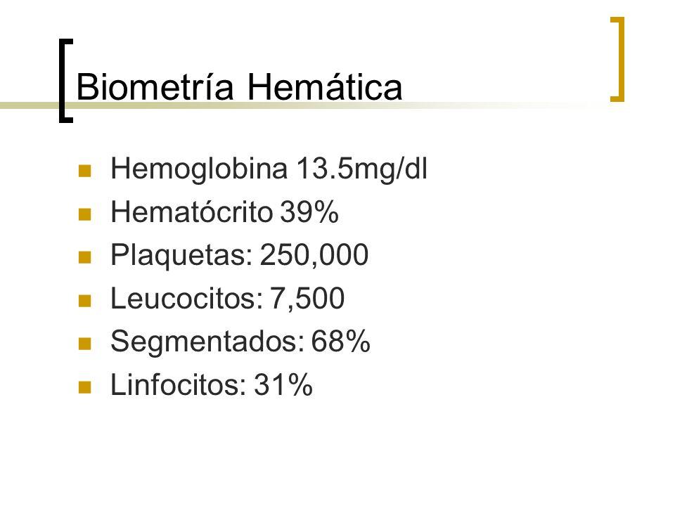 Biometría Hemática Hemoglobina 13.5mg/dl Hematócrito 39% Plaquetas: 250,000 Leucocitos: 7,500 Segmentados: 68% Linfocitos: 31%