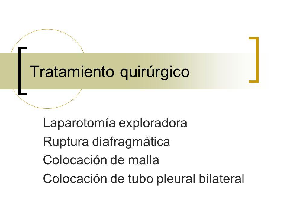 Tratamiento quirúrgico Laparotomía exploradora Ruptura diafragmática Colocación de malla Colocación de tubo pleural bilateral