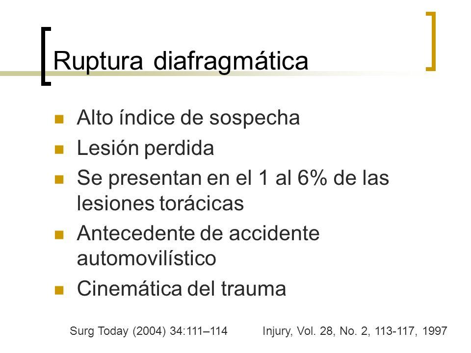 Ruptura diafragmática Alto índice de sospecha Lesión perdida Se presentan en el 1 al 6% de las lesiones torácicas Antecedente de accidente automovilís
