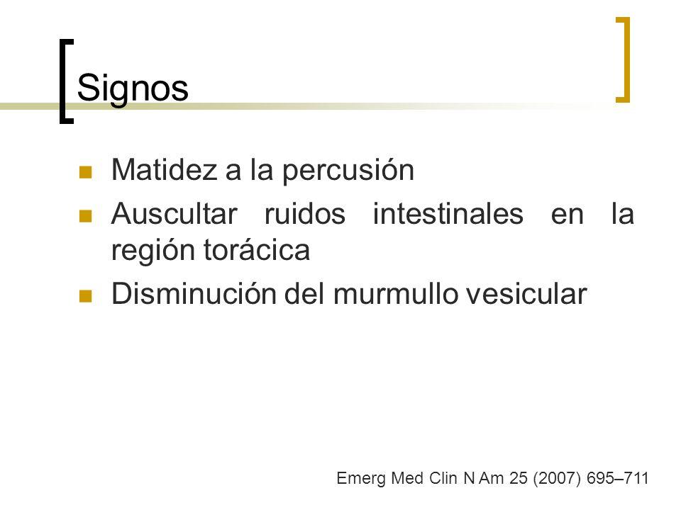 Signos Matidez a la percusión Auscultar ruidos intestinales en la región torácica Disminución del murmullo vesicular Emerg Med Clin N Am 25 (2007) 695