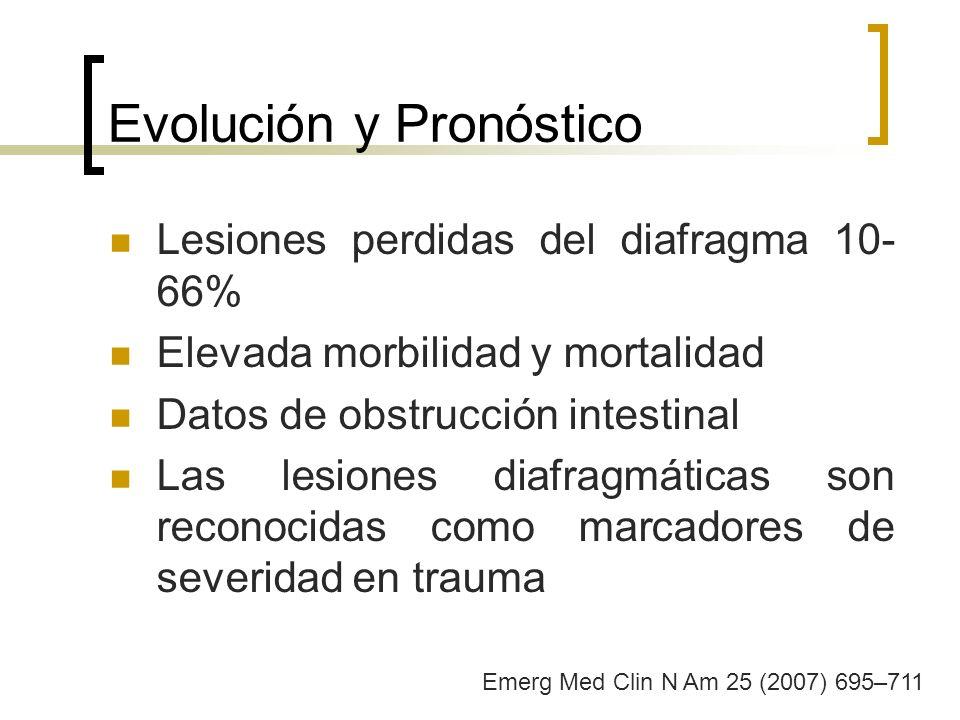 Evolución y Pronóstico Lesiones perdidas del diafragma 10- 66% Elevada morbilidad y mortalidad Datos de obstrucción intestinal Las lesiones diafragmát
