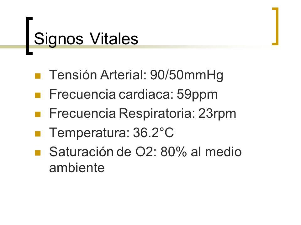 Signos Vitales Tensión Arterial: 90/50mmHg Frecuencia cardiaca: 59ppm Frecuencia Respiratoria: 23rpm Temperatura: 36.2°C Saturación de O2: 80% al medi