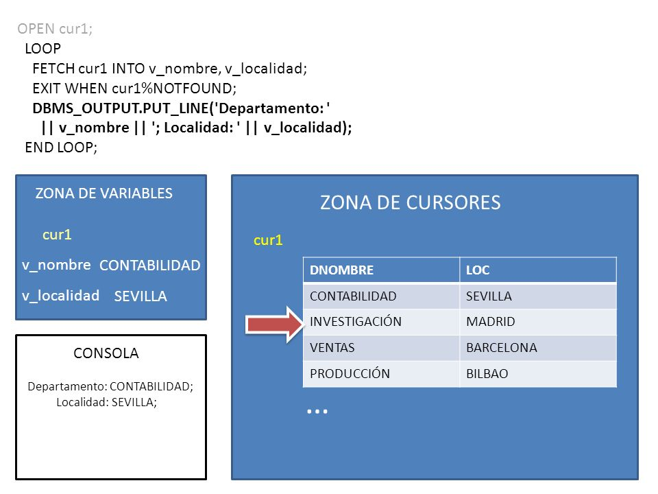 OPEN cur1; LOOP FETCH cur1 INTO v_nombre, v_localidad; EXIT WHEN cur1%NOTFOUND; DBMS_OUTPUT.PUT_LINE( Departamento: || v_nombre || ; Localidad: || v_localidad); END LOOP; ZONA DE CURSORES cur1 DNOMBRELOC CONTABILIDADSEVILLA INVESTIGACIÓNMADRID VENTASBARCELONA PRODUCCIÓNBILBAO ZONA DE VARIABLES v_nombre v_localidad cur1 CONSOLA CONTABILIDAD SEVILLA … Departamento: CONTABILIDAD; Localidad: SEVILLA;