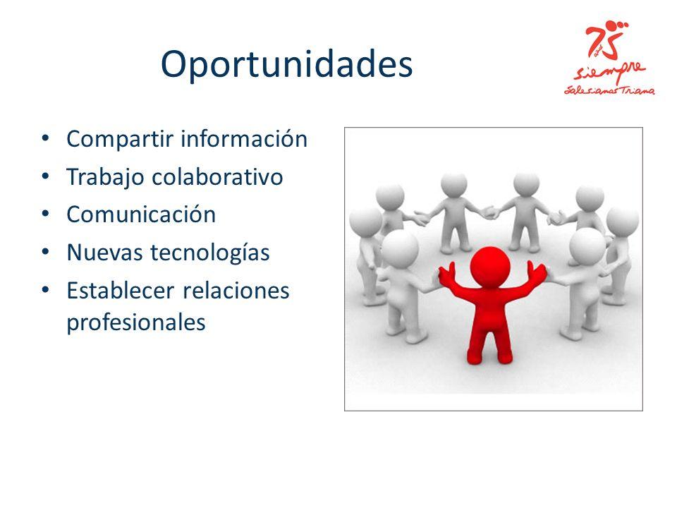 Oportunidades Compartir información Trabajo colaborativo Comunicación Nuevas tecnologías Establecer relaciones profesionales