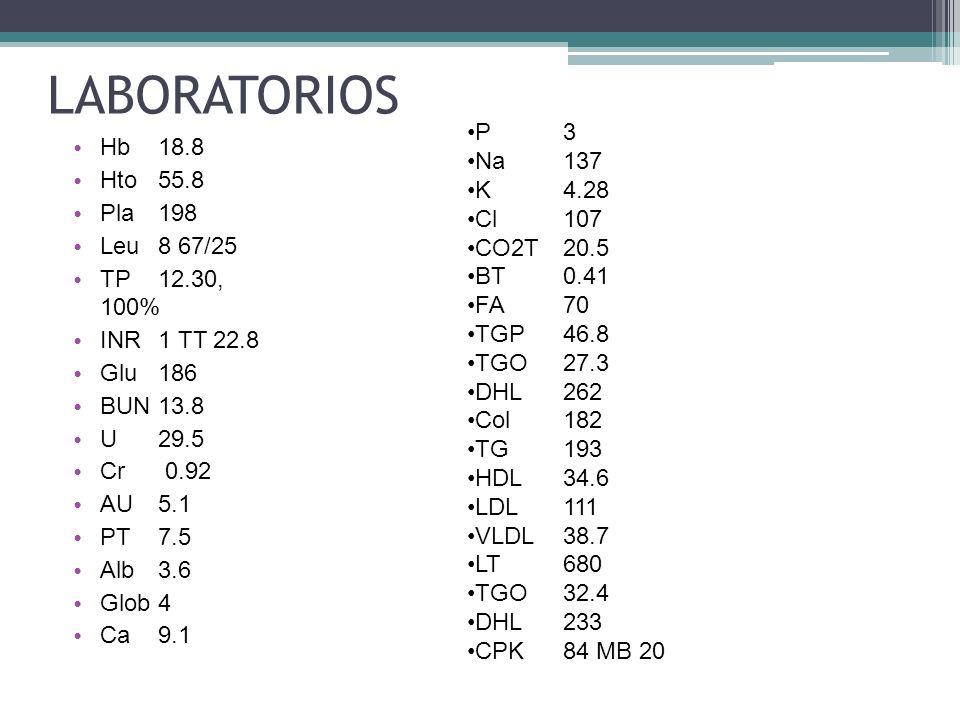 Hb 18.8 Hto 55.8 Pla 198 Leu 8 67/25 TP 12.30, 100% INR 1 TT 22.8 Glu 186 BUN 13.8 U 29.5 Cr 0.92 AU 5.1 PT 7.5 Alb 3.6 Glob 4 Ca 9.1 LABORATORIOS P 3