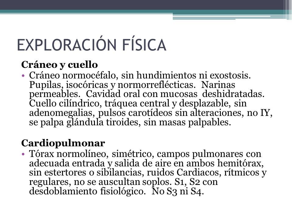 Abdomen: Abdomen globoso por panículo adiposo, blando y depresible, con peristalsis presente normoactiva en los 4 cuadrantes, sin visceromegalias o masas palpables, no datos de irritación peritoneal.