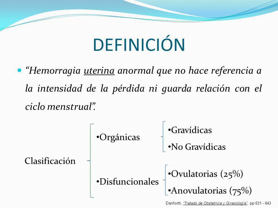DEFINICIÓN Hemorragia uterina anormal que no hace referencia a la intensidad de la pérdida ni guarda relación con el ciclo menstrual. Orgánicas Disfun