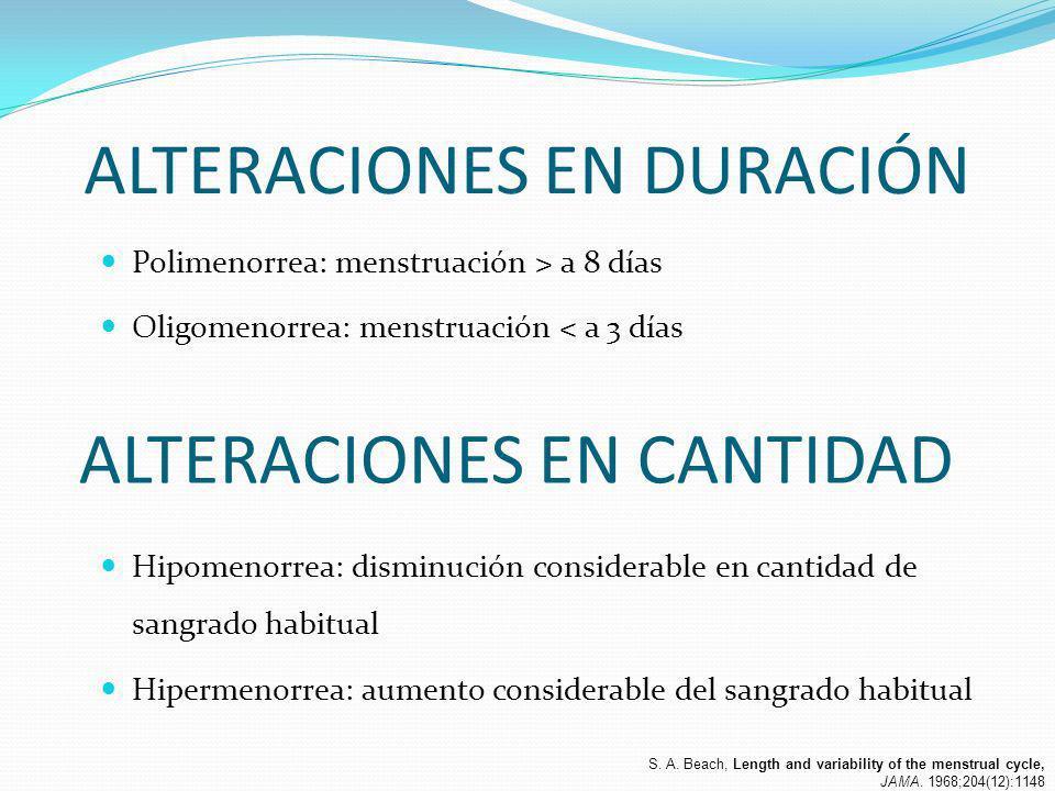 ALTERACIONES EN DURACIÓN Polimenorrea: menstruación > a 8 días Oligomenorrea: menstruación < a 3 días ALTERACIONES EN CANTIDAD Hipomenorrea: disminuci