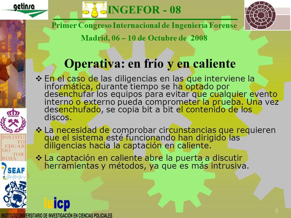 INGEFOR - 08 Primer Congreso Internacional de Ingeniería Forense Madrid, 06 – 10 de Octubre de 2008 6 Técnicas de Reinicio en Frío Propuestas por Halderman et al **.