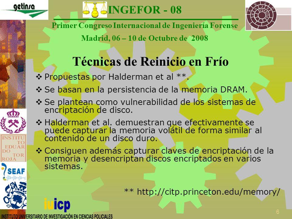 INGEFOR - 08 Primer Congreso Internacional de Ingeniería Forense Madrid, 06 – 10 de Octubre de 2008 7 ¿En qué consisten.