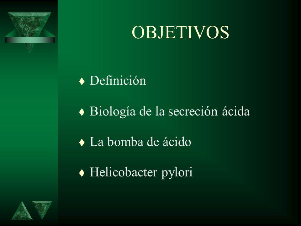 OBJETIVOS t Definición t Biología de la secreción ácida t La bomba de ácido t Helicobacter pylori