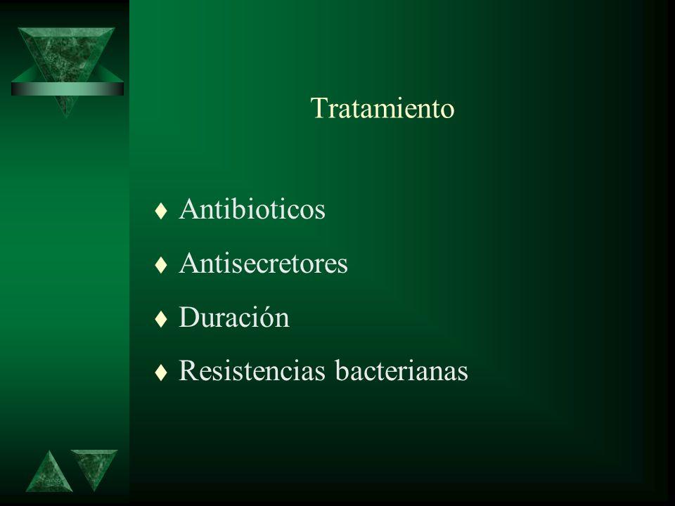 Tratamiento t Antibioticos t Antisecretores t Duración t Resistencias bacterianas
