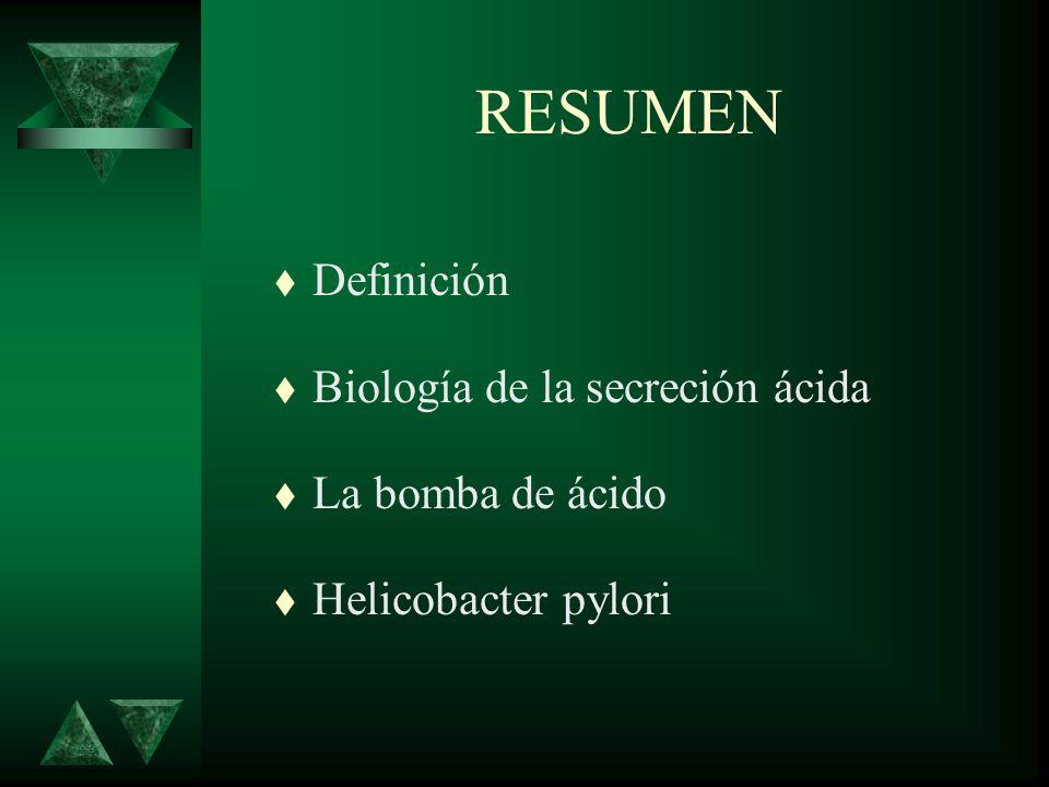 RESUMEN t Definición t Biología de la secreción ácida t La bomba de ácido t Helicobacter pylori