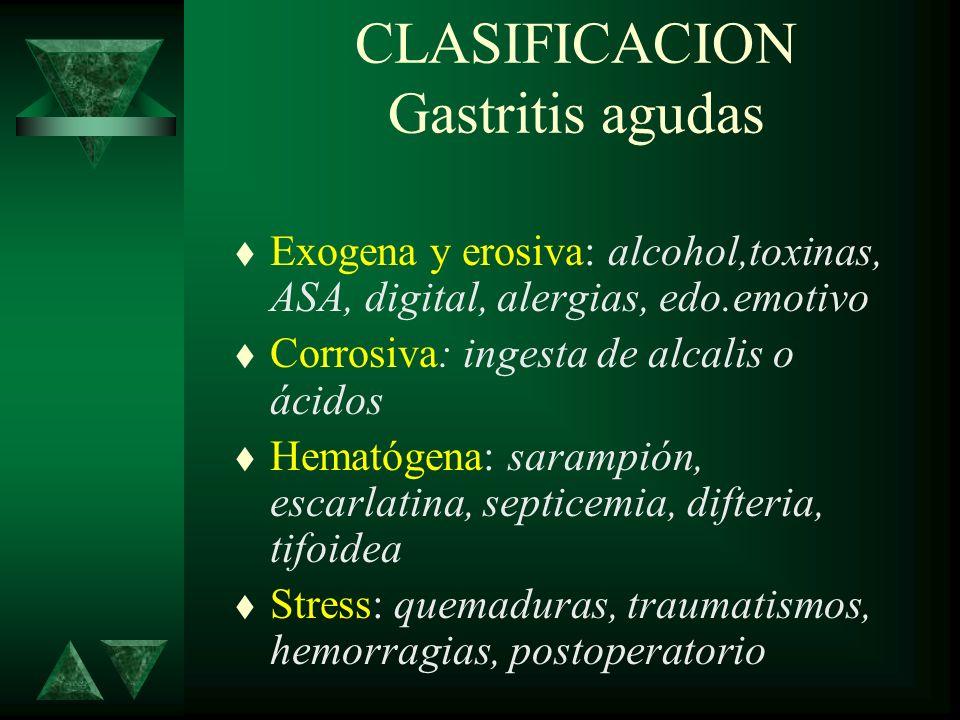 CLASIFICACION Gastritis crónicas t Atróficas: post-radiación, autoinmune, anemia perniciosa, hipotiroidismo, DM, gastritis aguda repetida, idiopáticas t Hipertróficas: glandular, hipertrófica focal, granulomatosa, eosinofilica