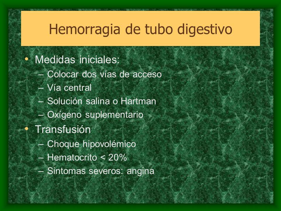 Medidas iniciales: –Colocar dos vías de acceso –Vía central –Solución salina o Hartman –Oxígeno suplementario Transfusión –Choque hipovolémico –Hemato