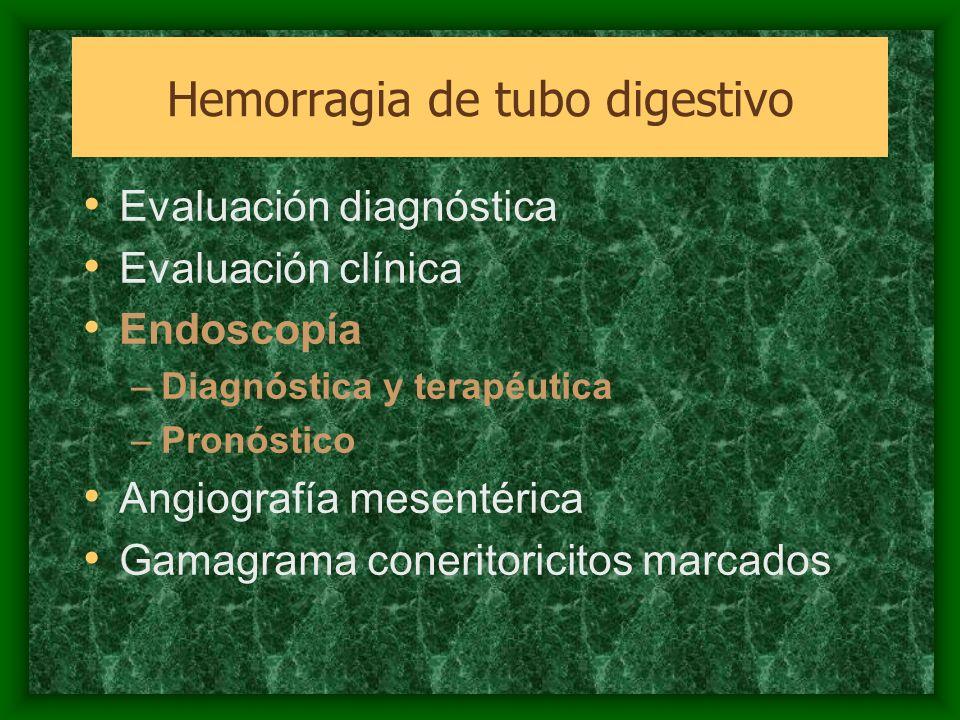 Evaluación diagnóstica Evaluación clínica Endoscopía –Diagnóstica y terapéutica –Pronóstico Angiografía mesentérica Gamagrama coneritoricitos marcados