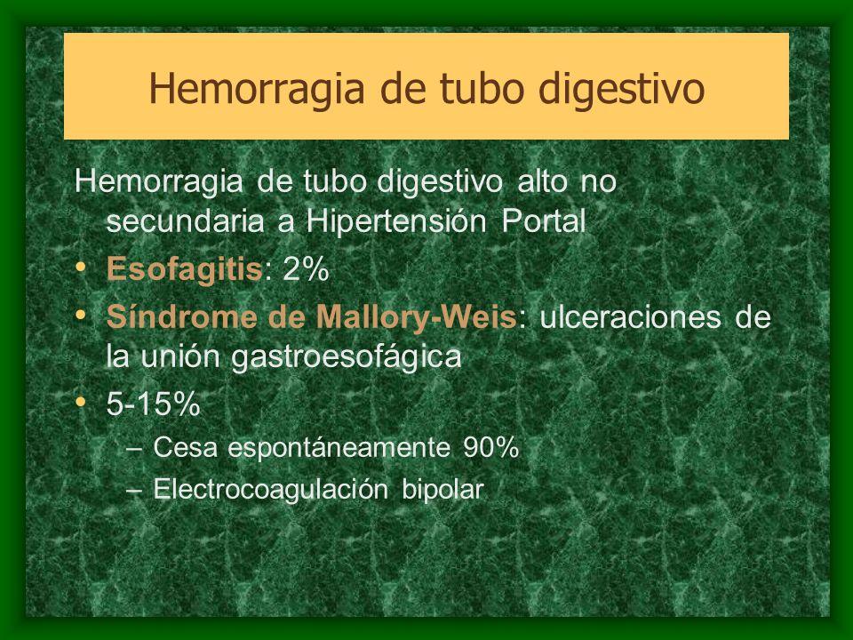 Hemorragia de tubo digestivo alto no secundaria a Hipertensión Portal Esofagitis: 2% Síndrome de Mallory-Weis: ulceraciones de la unión gastroesofágic