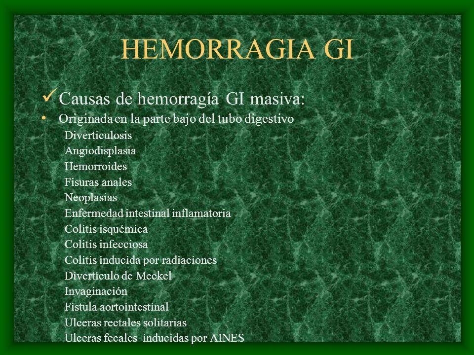 HEMORRAGIA GI Causas de hemorragía GI masiva: Originada en la parte bajo del tubo digestivo Diverticulosis Angiodisplasia Hemorroides Fisuras anales N