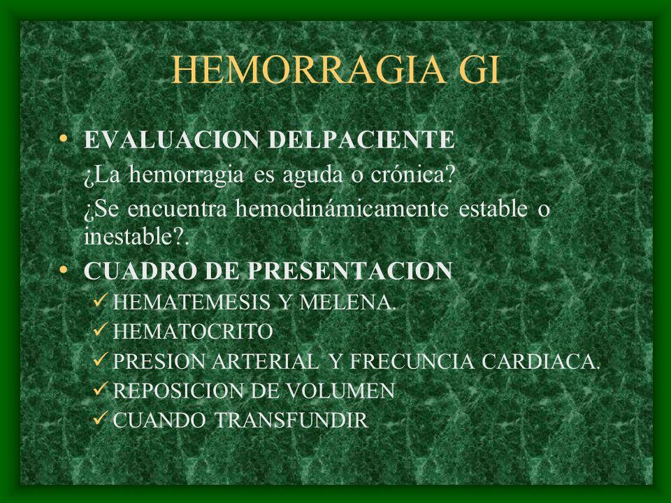 HEMORRAGIA GI EVALUACION DELPACIENTE ¿La hemorragia es aguda o crónica? ¿Se encuentra hemodinámicamente estable o inestable?. CUADRO DE PRESENTACION H