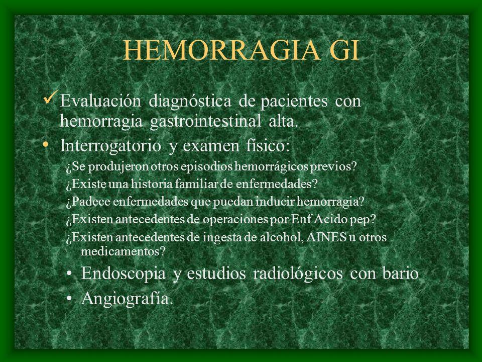 HEMORRAGIA GI Evaluación diagnóstica de pacientes con hemorragia gastrointestinal alta. Interrogatorio y examen físico: ¿Se produjeron otros episodios