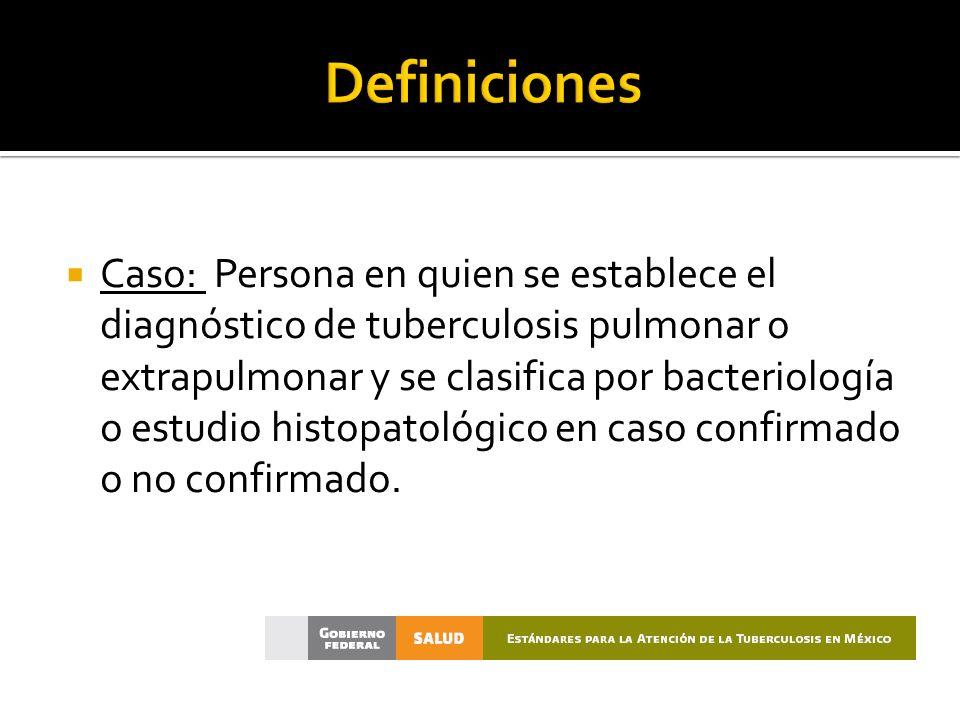 Caso: Persona en quien se establece el diagnóstico de tuberculosis pulmonar o extrapulmonar y se clasifica por bacteriología o estudio histopatológico