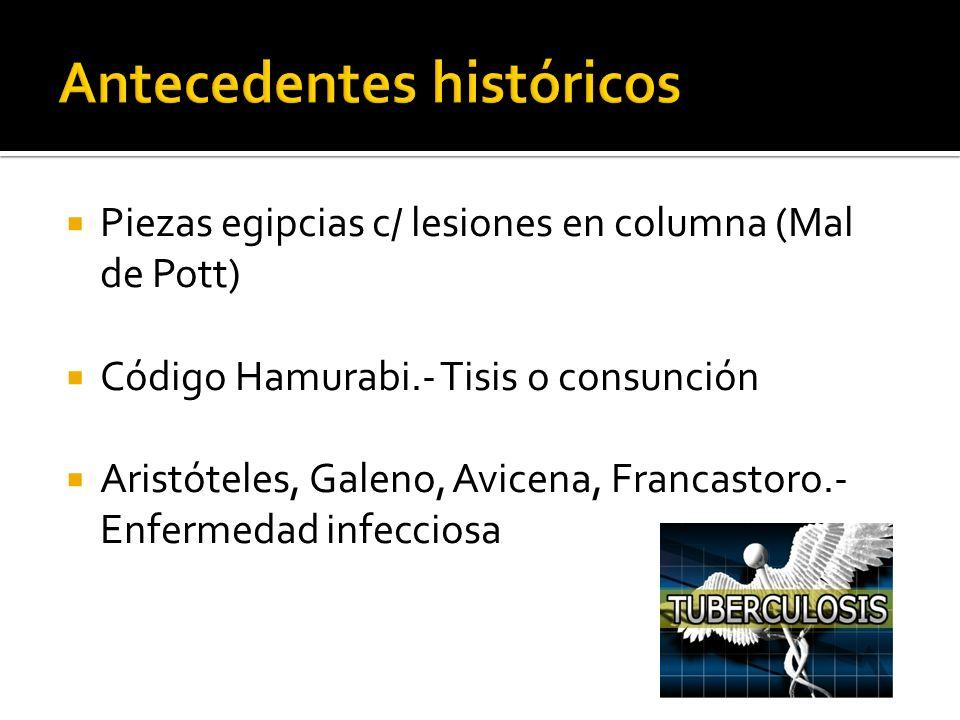 Piezas egipcias c/ lesiones en columna (Mal de Pott) Código Hamurabi.- Tisis o consunción Aristóteles, Galeno, Avicena, Francastoro.- Enfermedad infec
