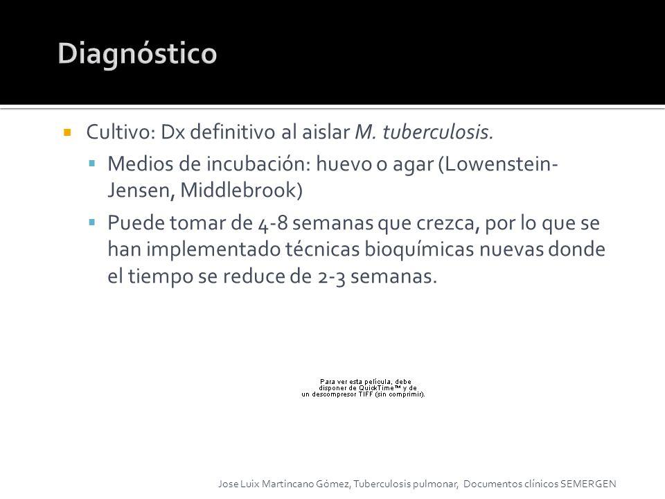 Cultivo: Dx definitivo al aislar M. tuberculosis. Medios de incubación: huevo o agar (Lowenstein- Jensen, Middlebrook) Puede tomar de 4-8 semanas que
