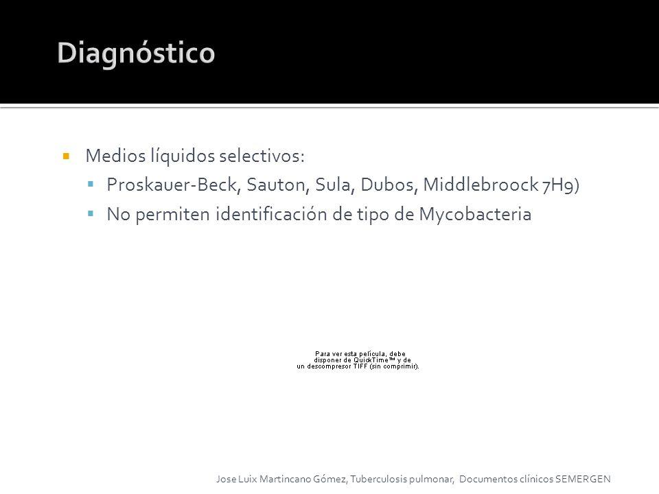 Medios líquidos selectivos: Proskauer-Beck, Sauton, Sula, Dubos, Middlebroock 7H9) No permiten identificación de tipo de Mycobacteria Jose Luix Martin
