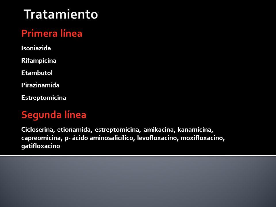 Primera línea Isoniazida Rifampicina Etambutol Pirazinamida Estreptomicina Segunda línea Cicloserina, etionamida, estreptomicina, amikacina, kanamicin