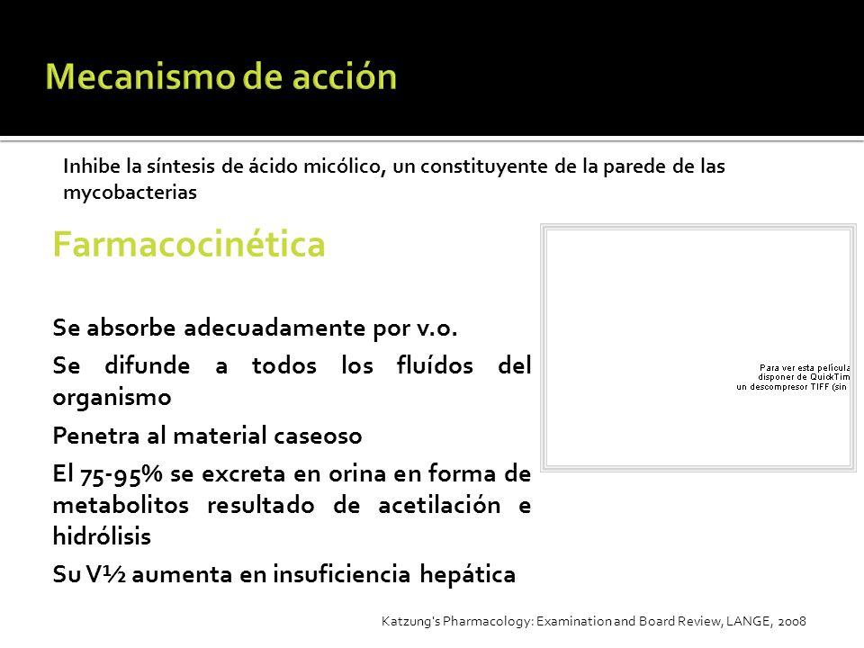 Farmacocinética Se absorbe adecuadamente por v.o. Se difunde a todos los fluídos del organismo Penetra al material caseoso El 75-95% se excreta en ori