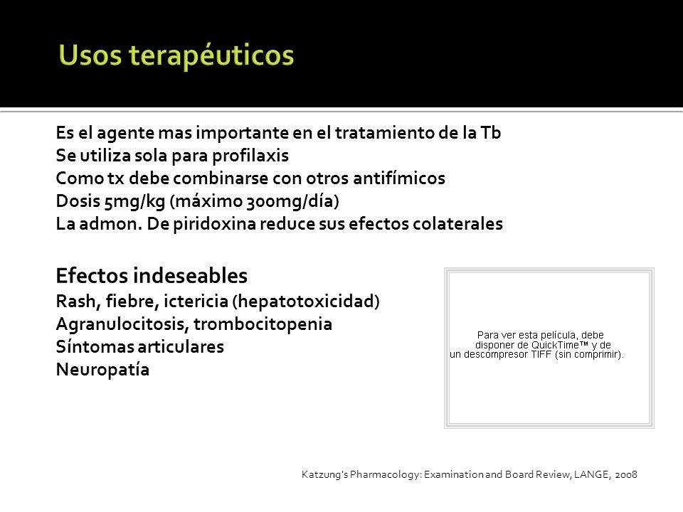 Es el agente mas importante en el tratamiento de la Tb Se utiliza sola para profilaxis Como tx debe combinarse con otros antifímicos Dosis 5mg/kg (máx