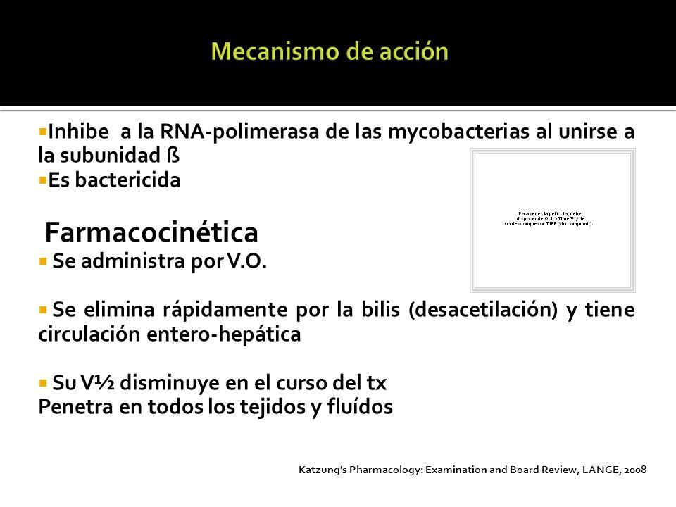 Inhibe a la RNA-polimerasa de las mycobacterias al unirse a la subunidad ß Es bactericida Farmacocinética Se administra por V.O. Se elimina rápidament