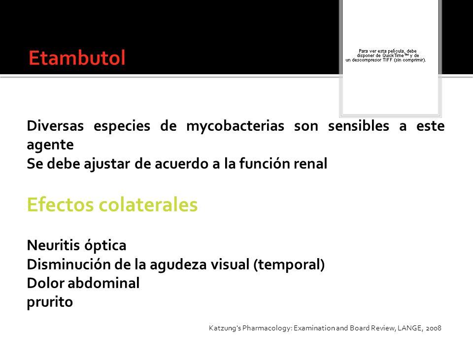 Diversas especies de mycobacterias son sensibles a este agente Se debe ajustar de acuerdo a la función renal Efectos colaterales Neuritis óptica Dismi