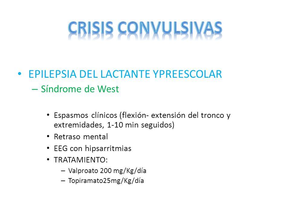 EPILEPSIA DEL LACTANTE YPREESCOLAR – Síndrome de West Espasmos clínicos (flexión- extensión del tronco y extremidades, 1-10 min seguidos) Retraso ment