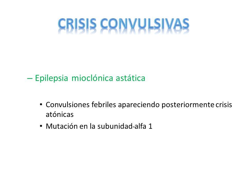 – Epilepsia mioclónica astática Convulsiones febriles apareciendo posteriormente crisis atónicas Mutación en la subunidad alfa 1