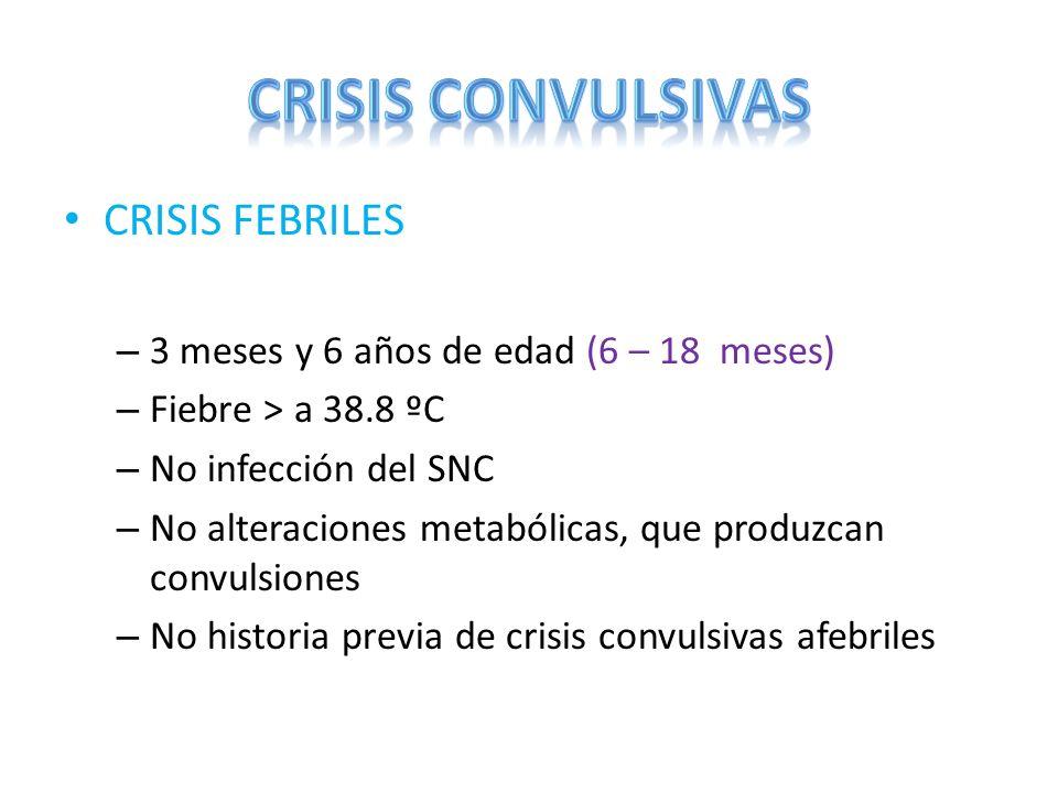 CRISIS FEBRILES – 3 meses y 6 años de edad (6 – 18 meses) – Fiebre > a 38.8 ºC – No infección del SNC – No alteraciones metabólicas, que produzcan con