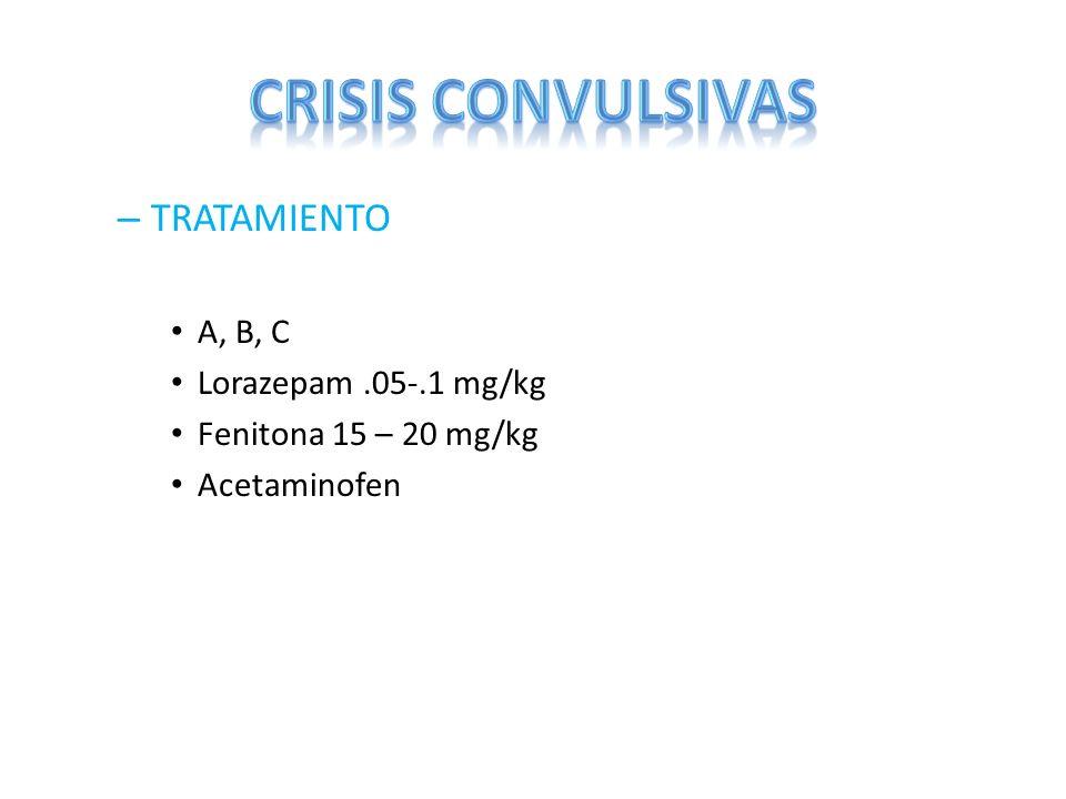 – TRATAMIENTO A, B, C Lorazepam.05-.1 mg/kg Fenitona 15 – 20 mg/kg Acetaminofen