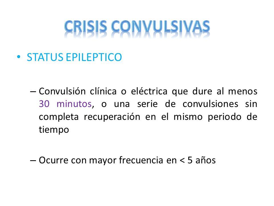 STATUS EPILEPTICO – Convulsión clínica o eléctrica que dure al menos 30 minutos, o una serie de convulsiones sin completa recuperación en el mismo per