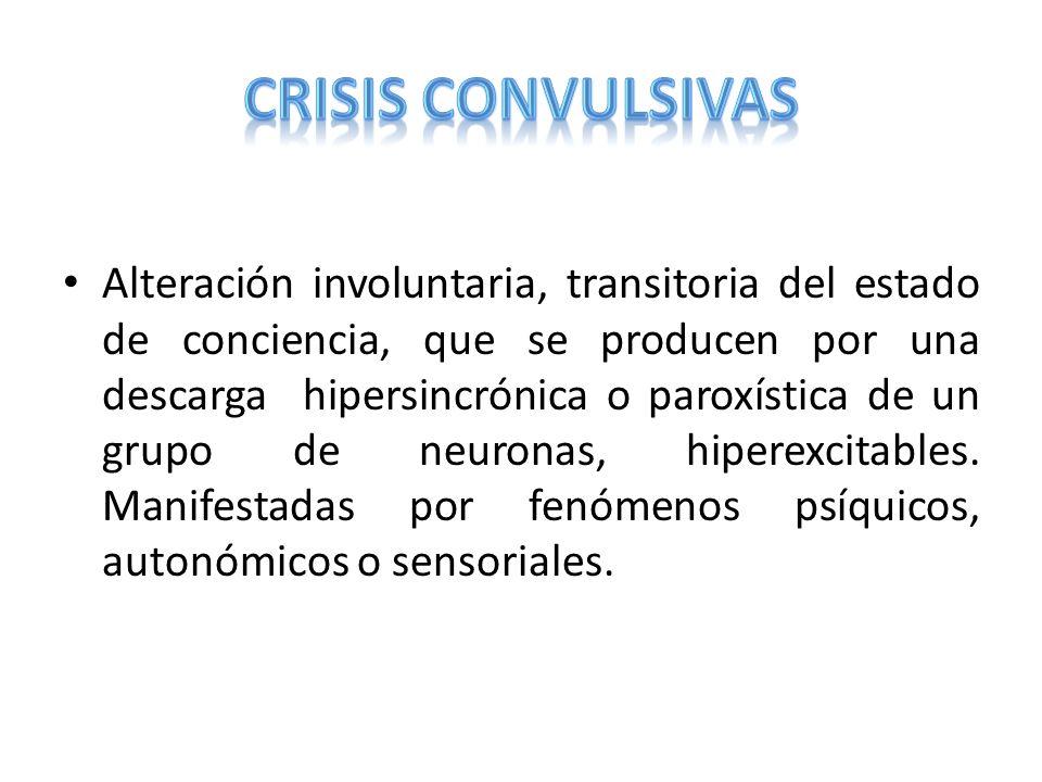 INFECCIOSAS Abscesos cerebrales Meningoencefaitis Crisis febriles NEUROLÓGICAS Encefalopatía hipóxico isquémica METABÓLICAS Desequilibrio HE Hipoxia Deficiencia de piridoxina TRAUMÁTICAS Hemorragia Intracraneana Contusion cerebral TOXICOLÓGICAS Alcohol, Antihistaminícos,Anfetaminas, Cocaina, HO, Organofosforados IDIOPATICAS Epilepsia
